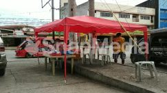 Apparel, Automobile, Awning, Bicycle, Bike, Building, Bus, Cafe, Cafeteria, Canopy, Car, Chair, City, Clothing, Countryside, Flagstone, Food, Food Court, Furniture