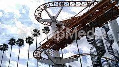 Adventure, Amusement Park, Arecaceae, Coaster, Construction Crane, Grass, Human, Lawn, Leisure Activities, Outdoors, Palm Tree, Park, Person, Plant, Roller Coaster, Slide, Theme Park, Toy, Tree, Water, Water Park