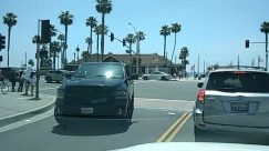 Automobile, Car, Vehicle, Transportation, Person, Human, Grand Theft Auto, Arecaceae, Palm Tree, Pickup Truck, Truck, Text, Social distancing, huntington beach ca