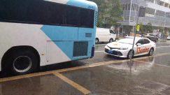 Automobile, Car, Transportation, Vehicle, Bus, Person, Bus Stop, Tour Bus, Machine, Wheel, Asphalt, Bike, Bicycle, Road, Truck