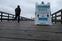 Water, Waterfront, Pier, Boardwalk, Path, Railing, Billboard, Pedestrian, People, Banner, distancing