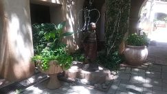 Flagstone, Costume, Plant, Potted Plant, Vase, Jar, Pottery, Slate, Yard, Vegetation, Tree, Female, Patio, Planter, Garden