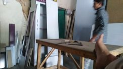Wood, Plywood, Furniture, Tabletop, Carpenter, Workshop, Face, Man, Table, Shelf, Flooring, Sleeve, Bird, Pants, Hardwood