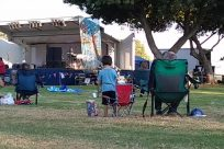 Chair, Furniture, Meal, Food, Yard, Camping, Plant, Grass, Vacation, People, Picnic, Backyard, Tent, Blonde, Kid