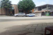 Vehicle, Car, Automobile, Wheel, Road, Building, City, Town, Street, Vegetation, Plant, Sedan, Path, Tree, Housing