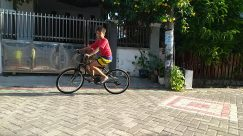 Bike, Vehicle, Bicycle, Wheel, Riding Bicycle, Walkway, Flagstone, Cyclist, Sports, Sport, Sidewalk, Pavement, Shorts, playing