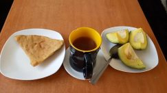 Plant, Food, Bread, Fruit, Banana, Avocado, Cup, Coffee Cup, Pottery, Dish, Meal, Pancake, Citrus Fruit, Saucer, Pita