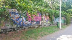 Graffiti, Wall, Art, Yard, Painting, Plant, Mural, Garden, Building, Road, Street, Town, City, Cottage, House
