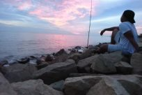 Rock, Water, Building, Tower, Ocean, Sea, Shoreline, Fishing, Bird, Promontory, Coast, Sky, Landscape, Angler, Sunrise